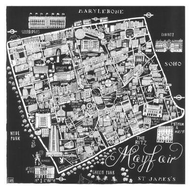 Illustrated Map Of Mayfair By Caroline Harper