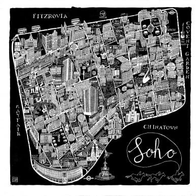 Illustrated Map Of Soho By Caroline Harper