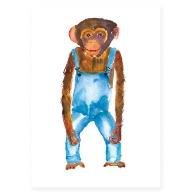 Chimp In Dungarees By Rosie Webb