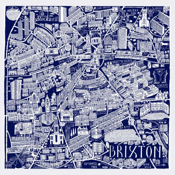 CZP Brixton Blue 600x600 - Brixton Illustrated Map by Caroline Harper