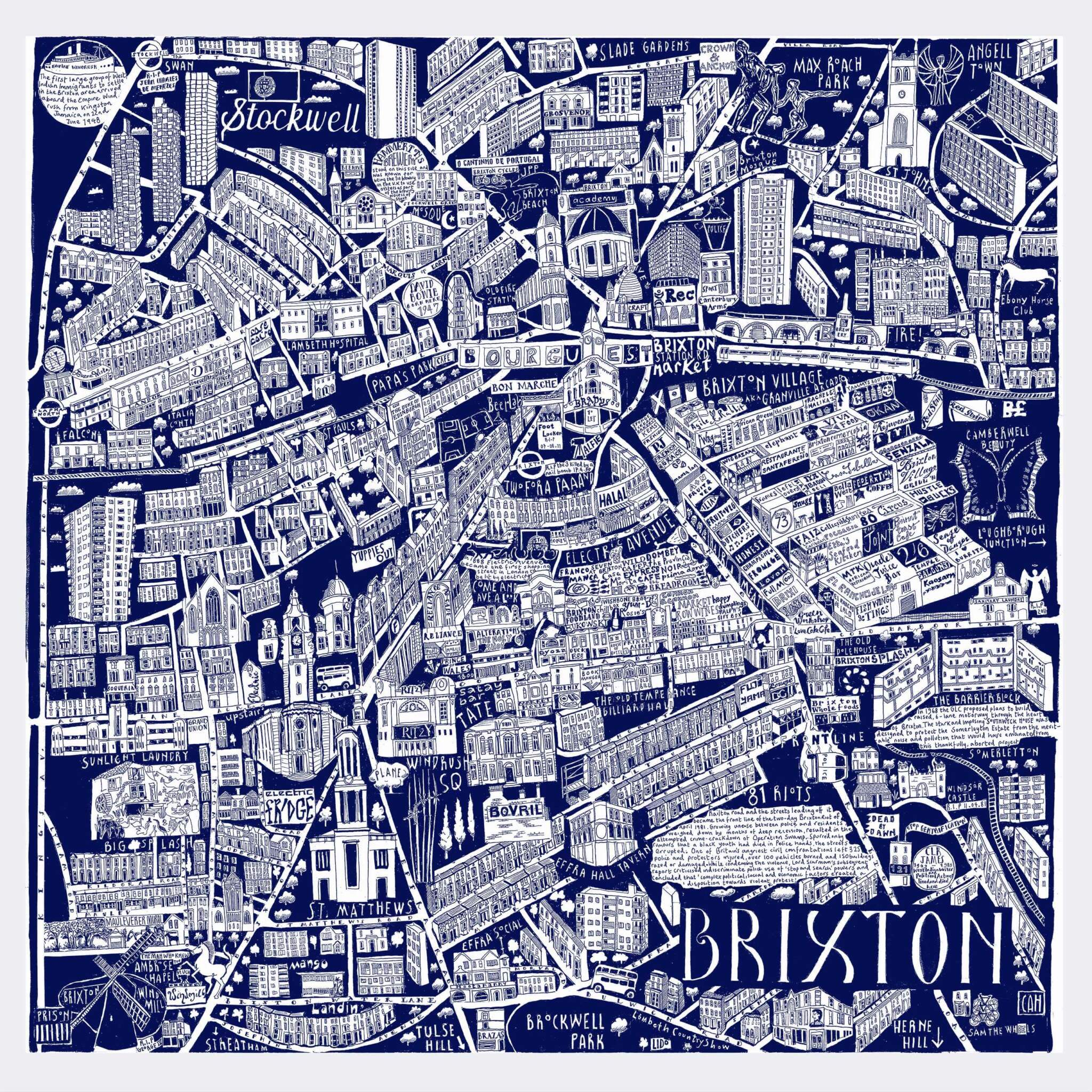 CZP Brixton Blue - Brixton Illustrated Map by Caroline Harper