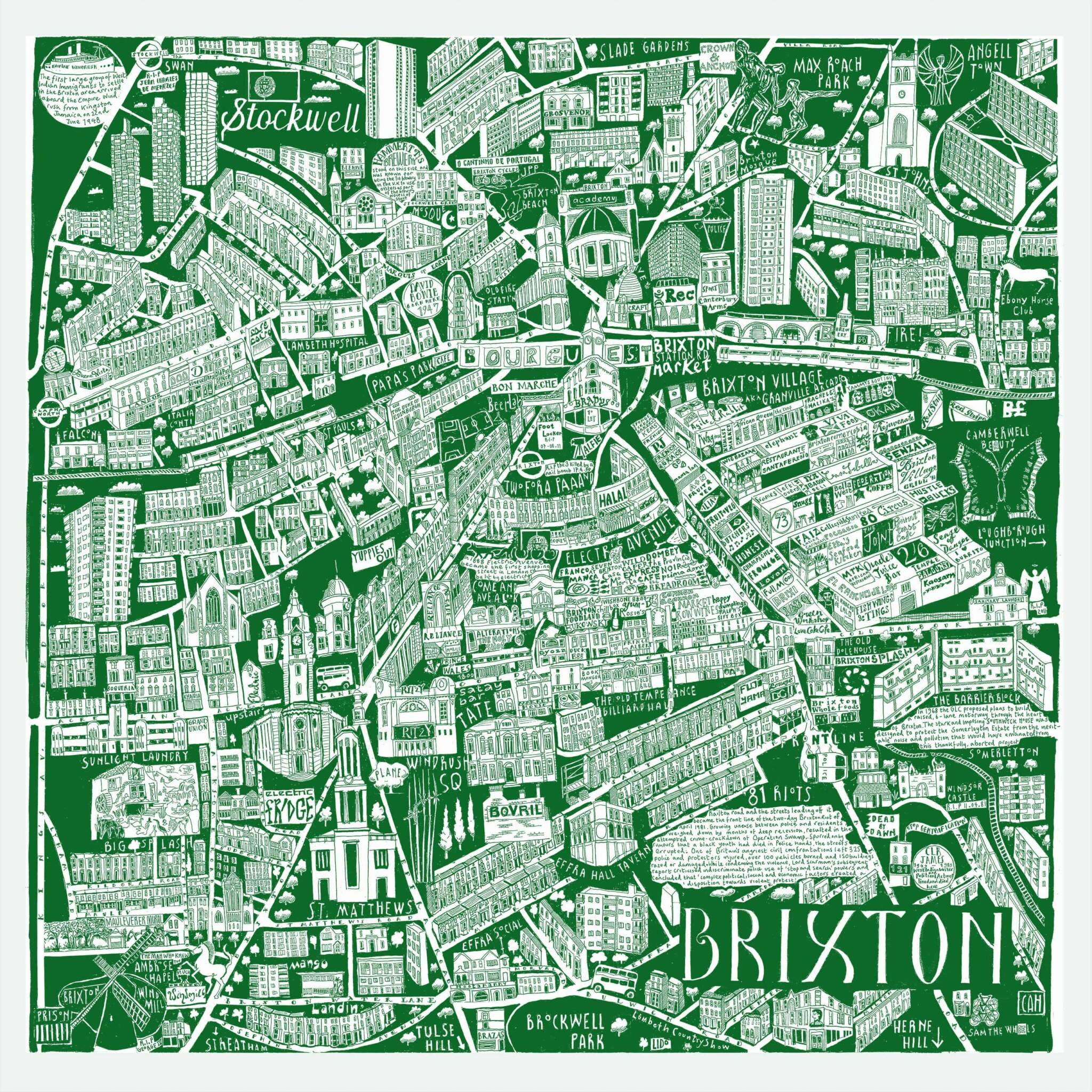 CZP Brixton Green - Brixton Illustrated Map by Caroline Harper