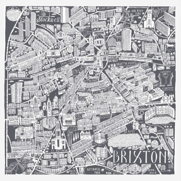 CZP Brixton Grey 600x600 - Brixton Illustrated Map by Caroline Harper