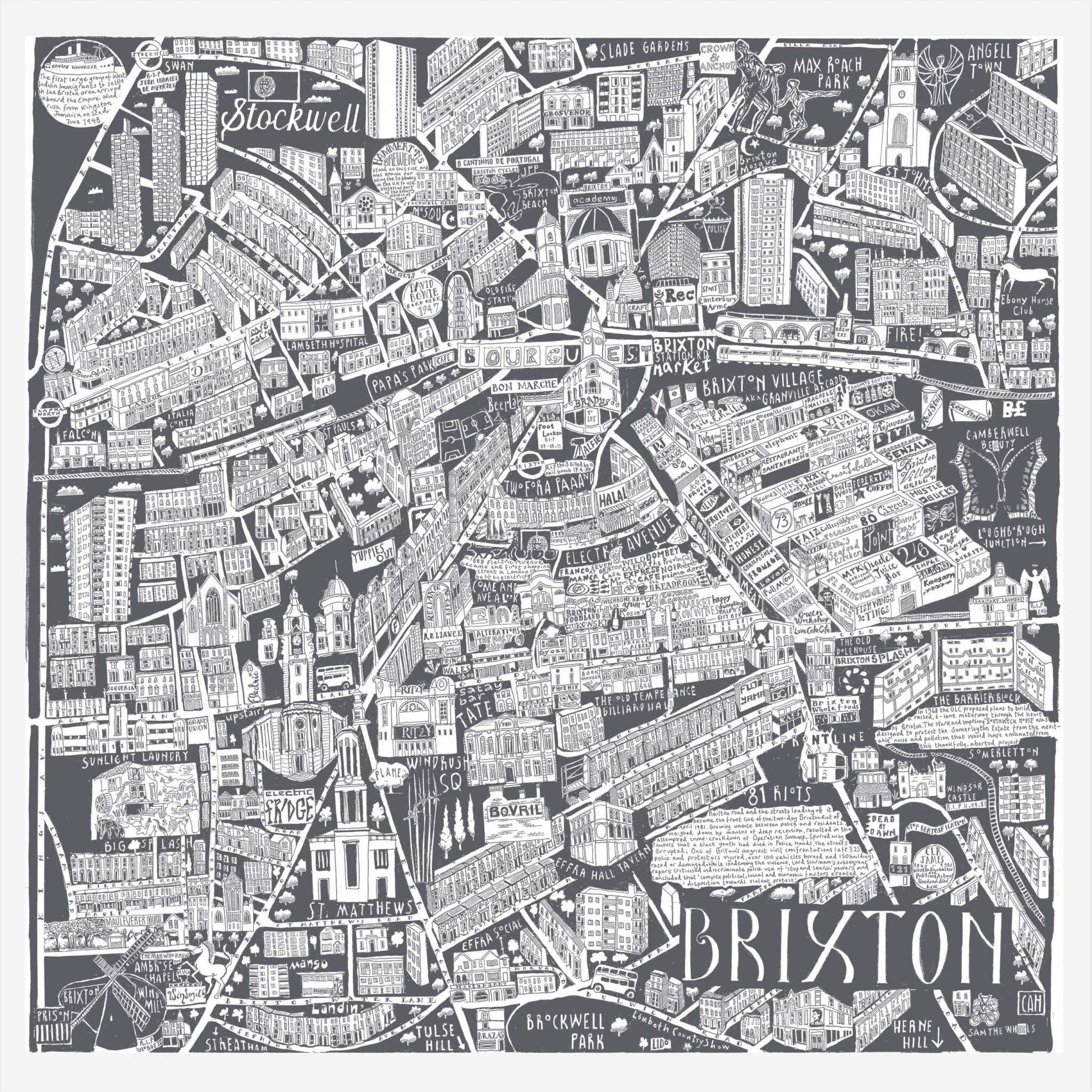 CZP Brixton Grey - Brixton Illustrated Map by Caroline Harper
