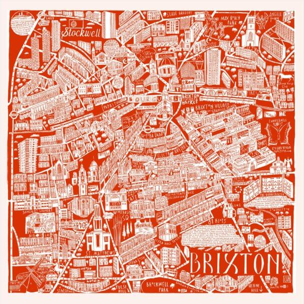 CZP Brixton Red 600x600 - Brixton Illustrated Map by Caroline Harper