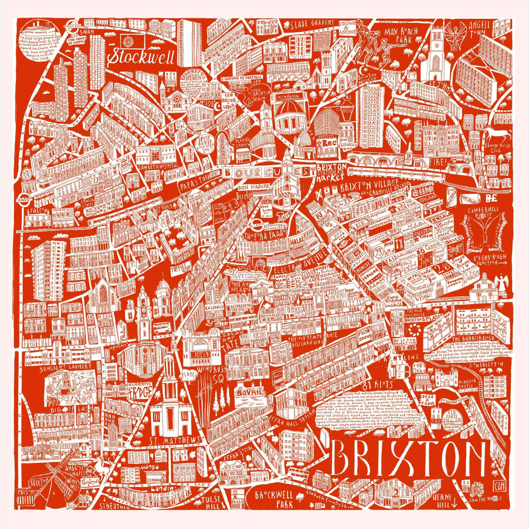 CZP Brixton Red - Brixton Illustrated Map by Caroline Harper
