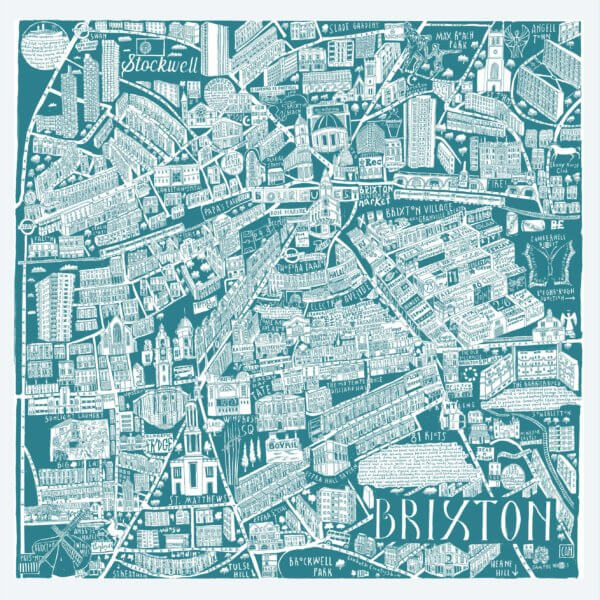 CZP Brixton Teal 600x600 - Brixton Illustrated Map by Caroline Harper