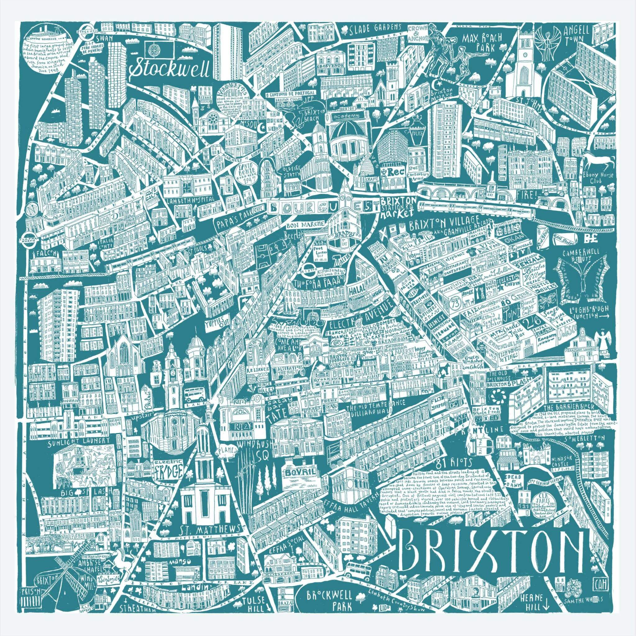 CZP Brixton Teal - Brixton Illustrated Map by Caroline Harper