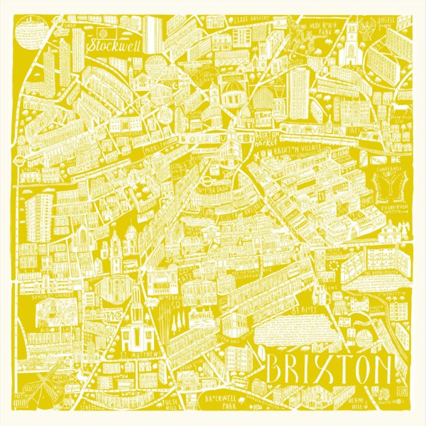CZP Brixton Yellow 600x600 - Brixton Illustrated Map by Caroline Harper