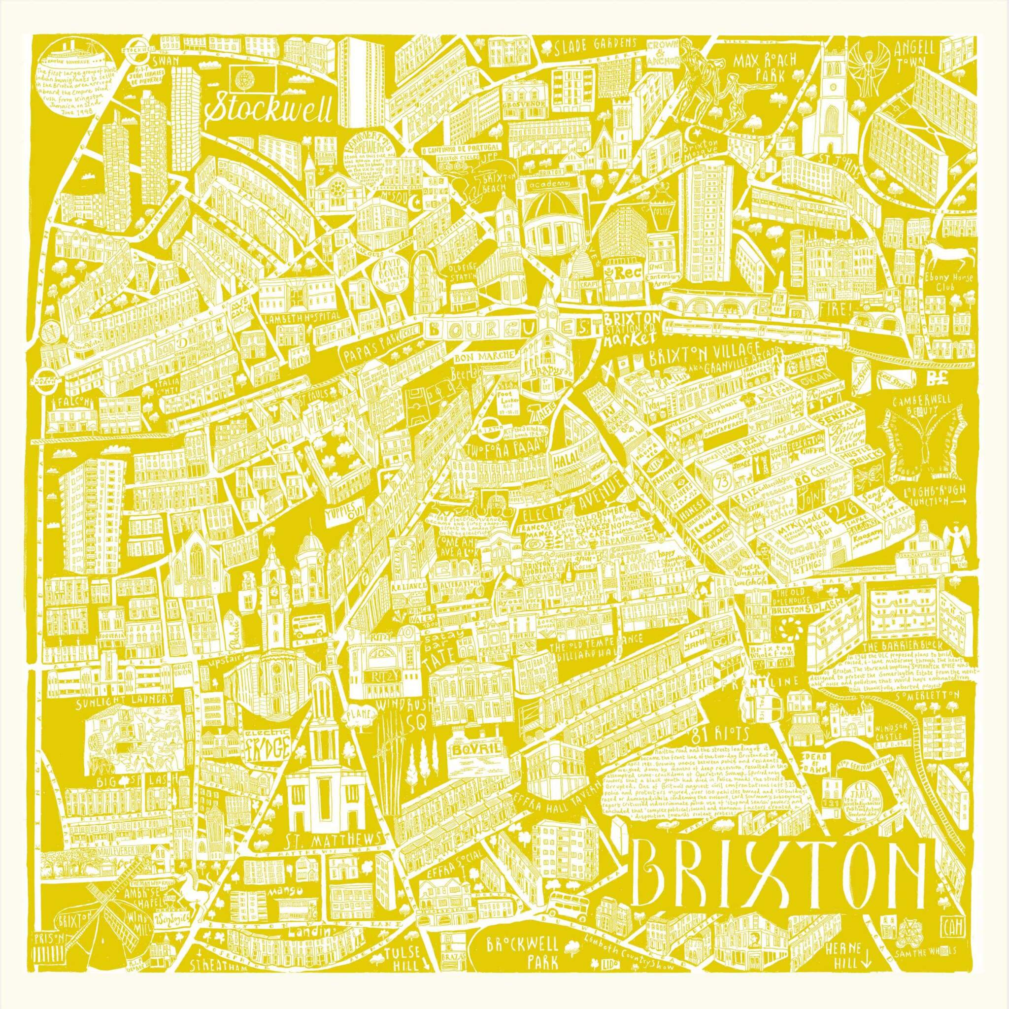 CZP Brixton Yellow - Brixton Illustrated Map by Caroline Harper