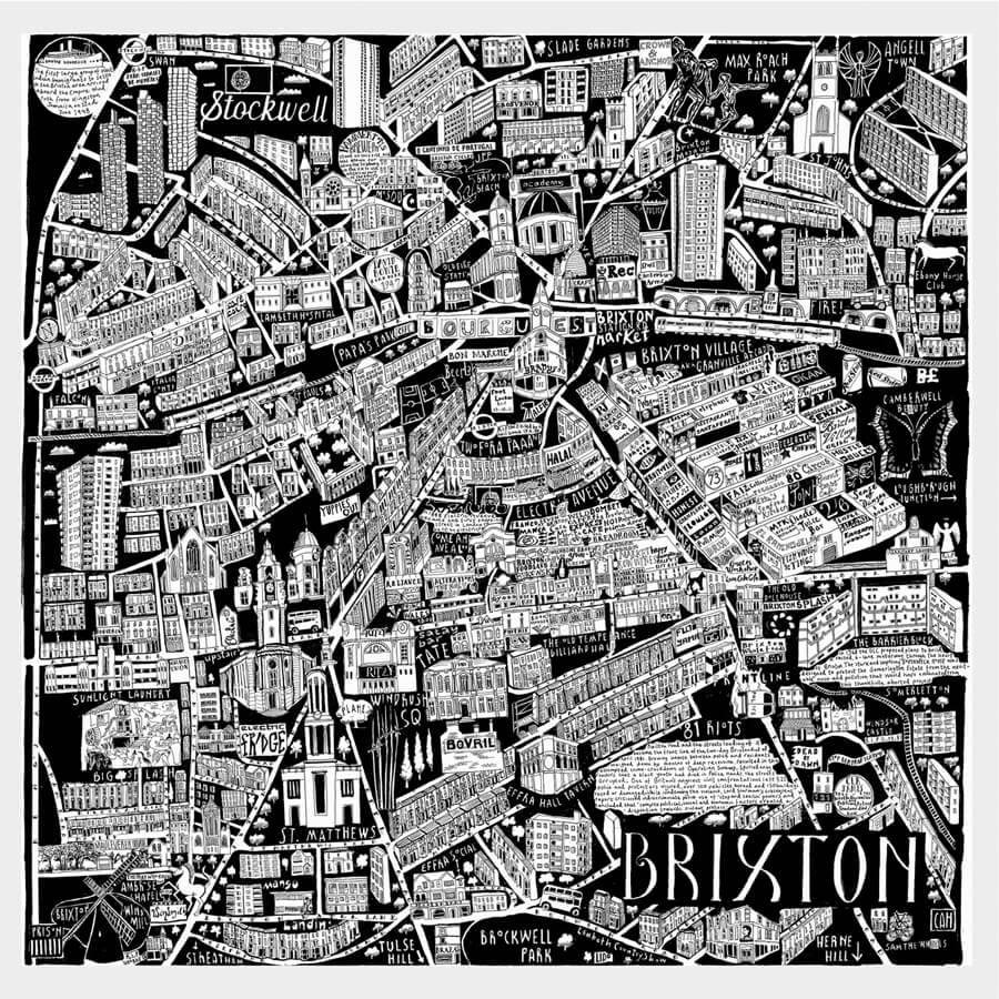 CZP Brixton full - Brixton Illustrated Map by Caroline Harper