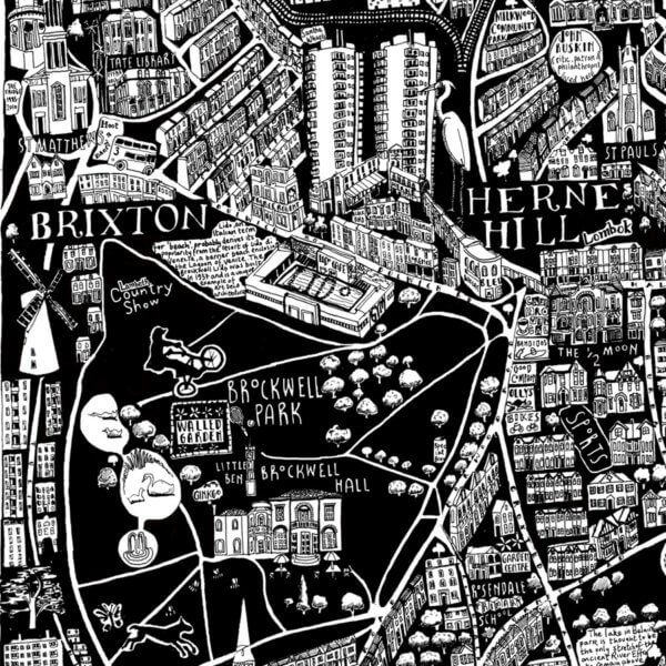 CZP South London 600x600 - South London Illustrated Map by Caroline Harper