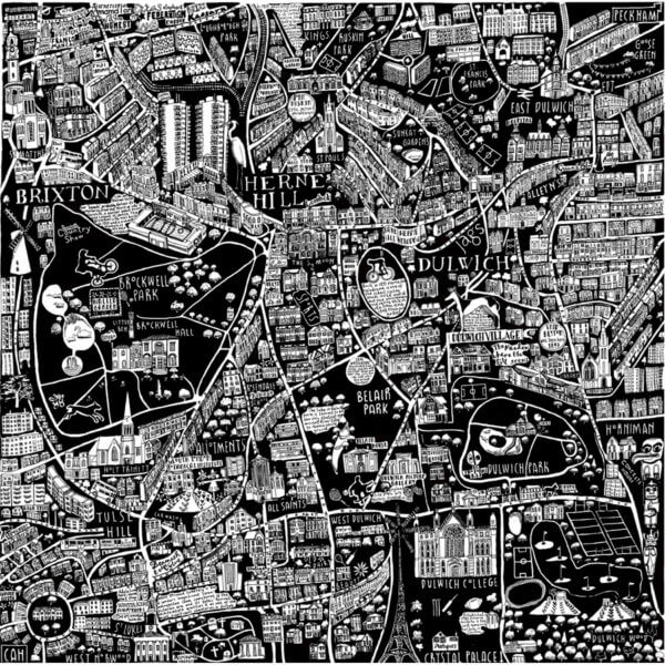 CZP South London full 600x600 - South London Illustrated Map by Caroline Harper