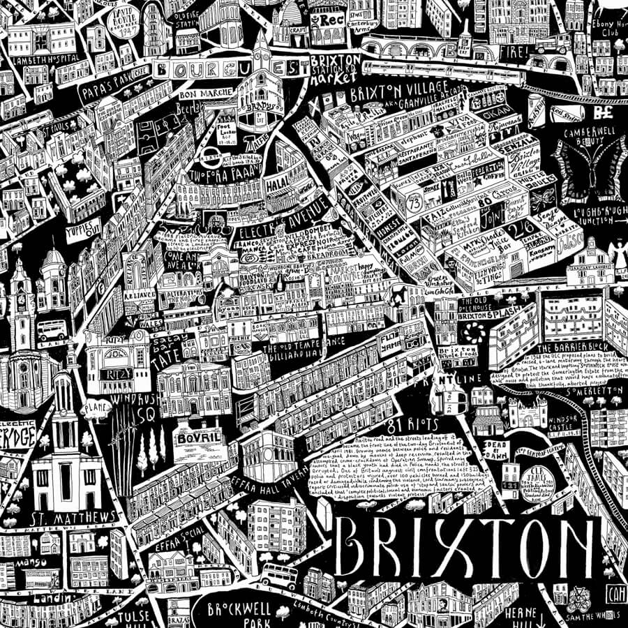 CZP brixton - Brixton Illustrated Map by Caroline Harper