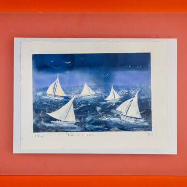 Boats In A Storm By Denise Bunt